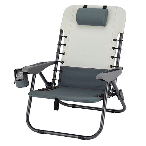 Steel Lace-up Backpack Chair with Removable Backpack in Grey