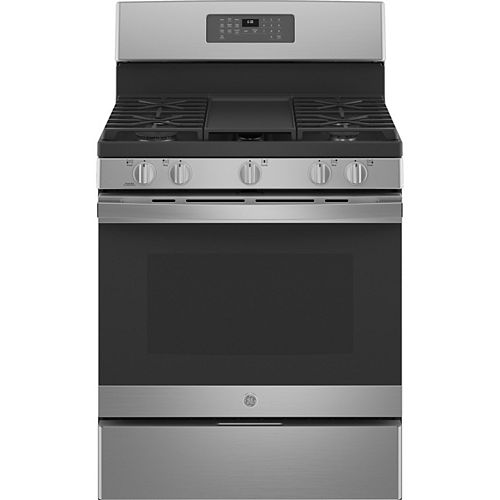 GE 30-inch Single Oven Gas Range with Self-Cleaning in Stainless Steel