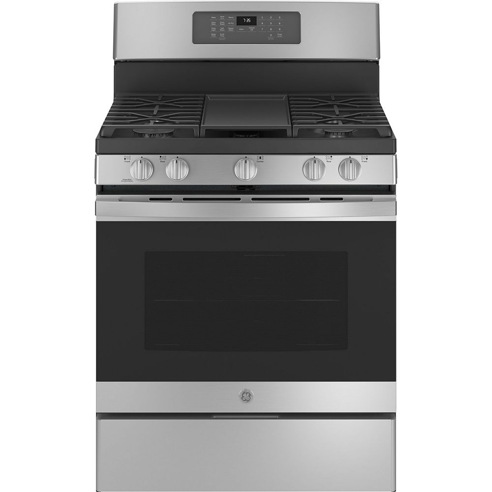 GE 30-inch Free-Standing Gas Convection Range with No Preheat Air Fry in Stainless Steel