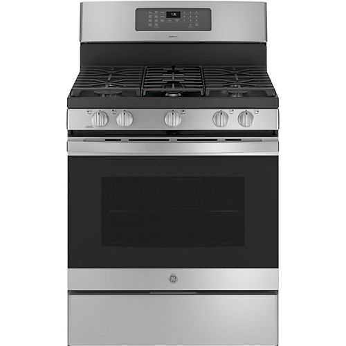 GE Adora 30-inch Free-Standing Gas Convection Range with No Preheat Air Fry in Stainless Steel
