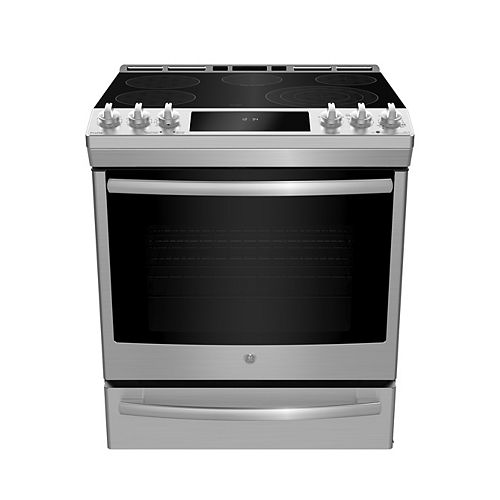 GE Profile 30-inch Slide-In Electric Range in Fingerprint Resistant Stainless Steel