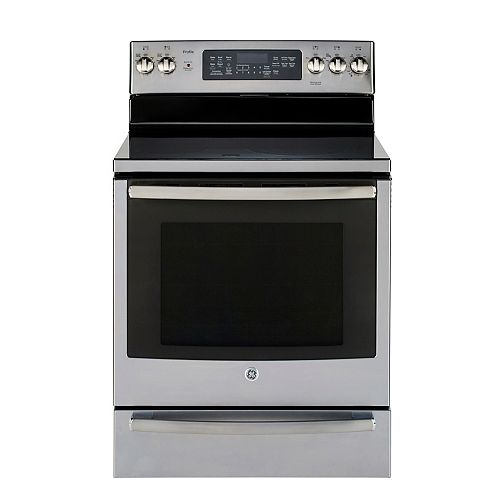GE Profile 30-inch Free-Standing Electric True Convection Range in Fingerprint Resistant Stainless Steel