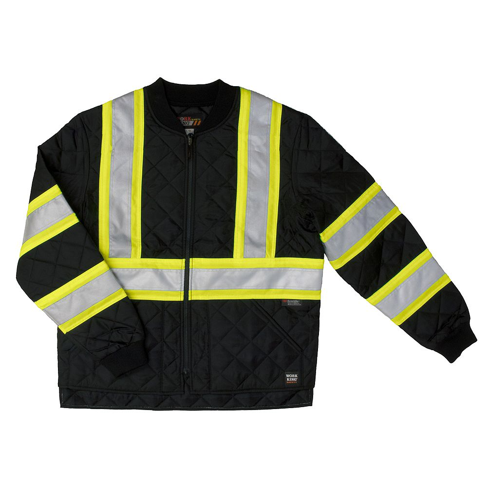 Work King Quilted Safety Jacket Blk 4Xl