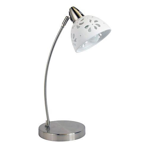 20.28 pouces Nickel Brossé / Blanc Lampe de bureau