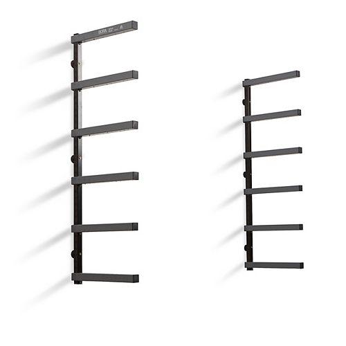 6-Tier Steel Gray/Black Wood Rack Garage Wall Shelf