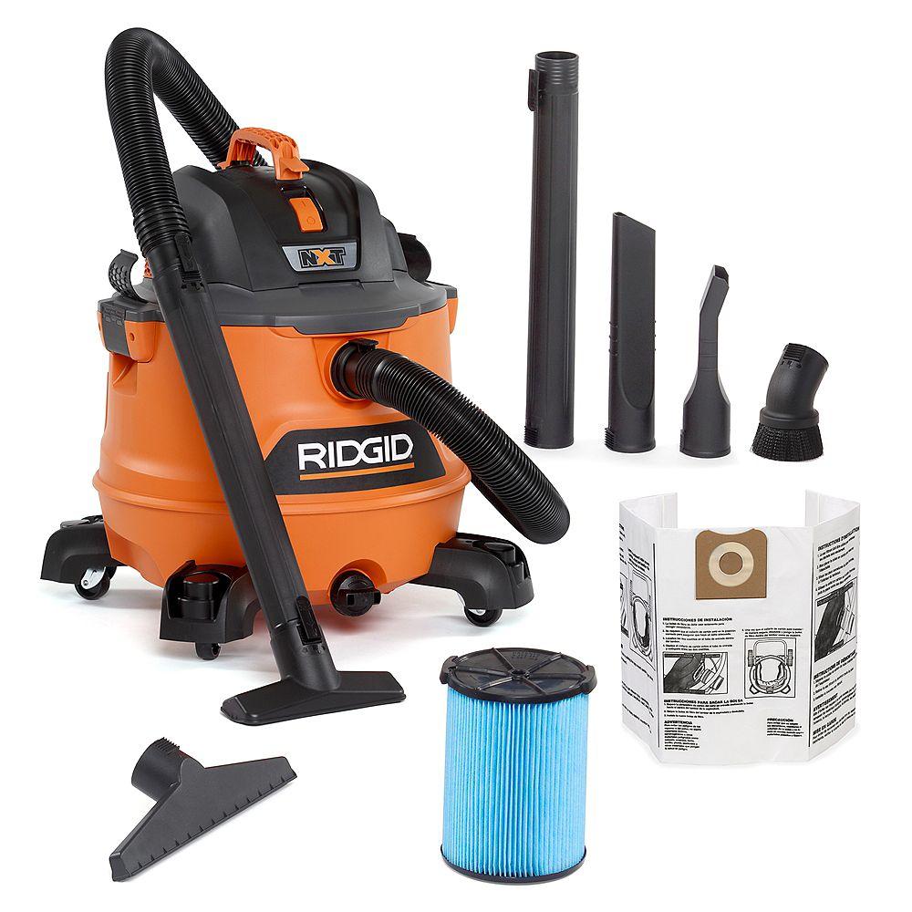 RIDGID NXT 53 L Capacity 6.0 Peak HP Wet Dry Vacuum with Locking Lid and Bonus Accessories