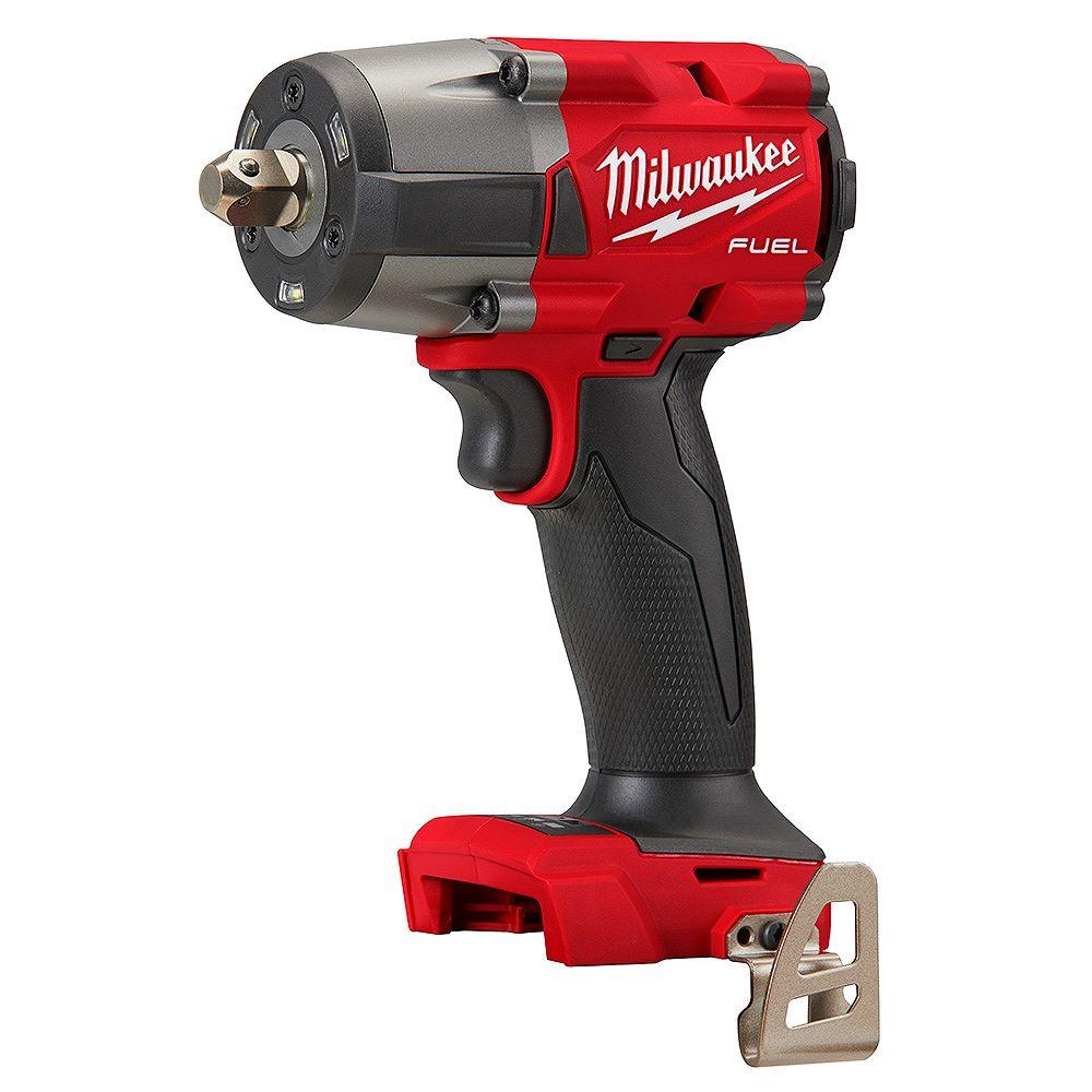 Milwaukee Tool Clé à chocs M18 FUEL GEN-2 sans brosse à couple moyen de 1/2 pouce avec cran d'arrêt (outil seulement)