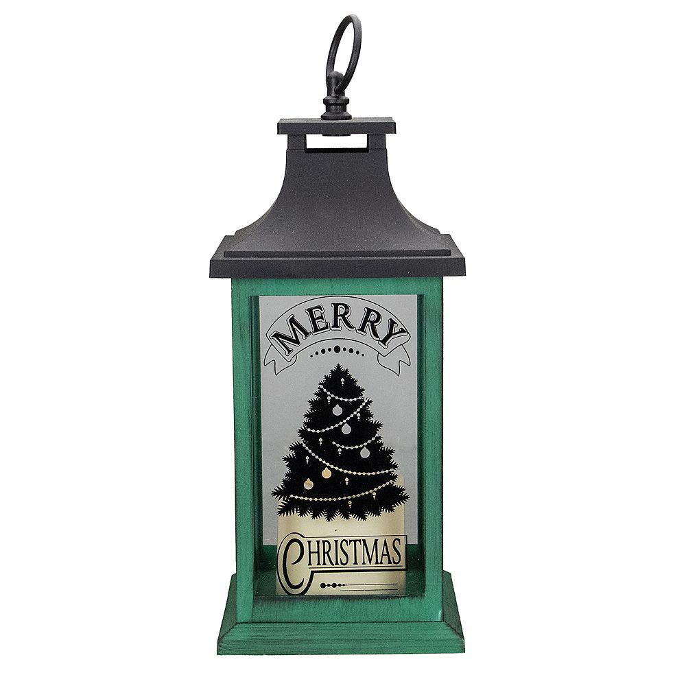 "Northlight 12"" Green and Black LED Candle With Christmas Tree Tabletop Lantern"