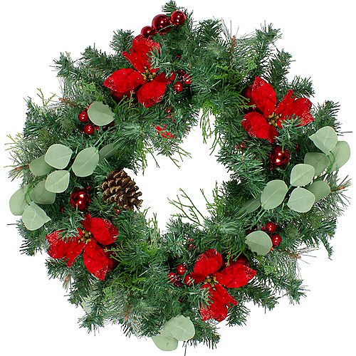 Pre-Decorated Red Poinsettia and Ornaments Artificial Christmas Wreath - 24 inch  Unlit