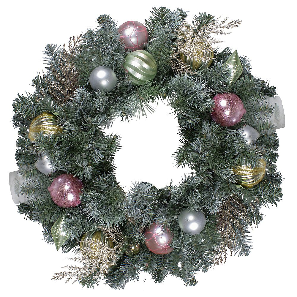 """Northlight 24"""" Unlit Pre-Decorated Pink and Gold Ornaments Frosted Artificial Christmas Wreath"""