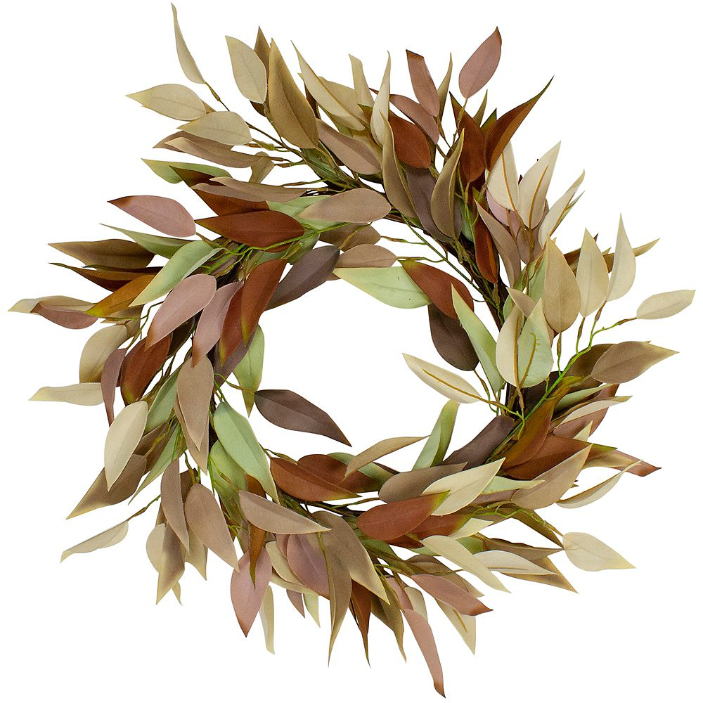 """Northlight 22"""" Buttery Neutral Fall Colored Leaves Artificial Autumn Harvest Wreath - Unlit"""