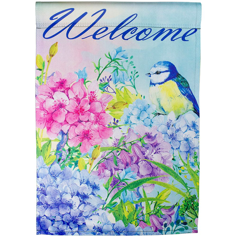 Northlight Blue And Purple Welcome Bird Outdoor Garden Flag 12 5 X 18 The Home Depot Canada
