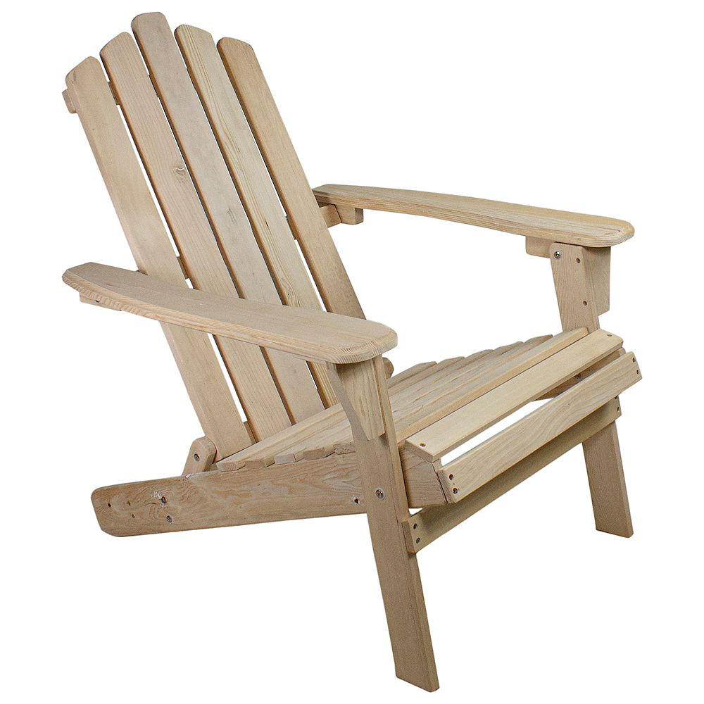 """Northlight 36"""" Natural Brown Classic Folding Wooden Adirondack Chair"""