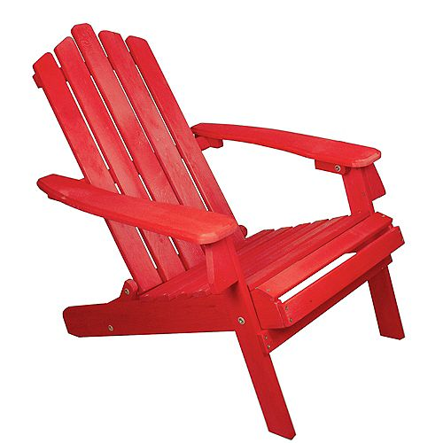"""36"""" Red Classic Folding Wooden Adirondack Chair"""