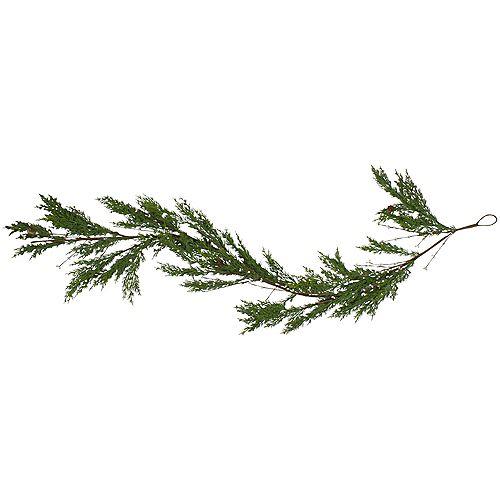 "72"" Green Cypress with Black Grape Berries Artificial Christmas Garland - Unlit"