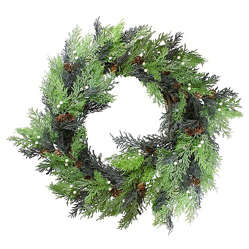 Berry  Cedar and Pine Cone Artificial Christmas Wreath - 24-Inch  Unlit