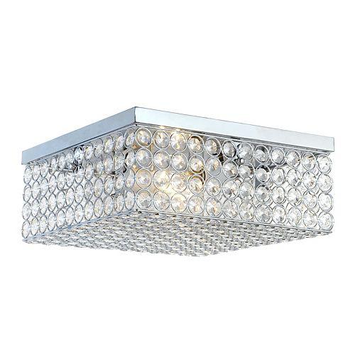 Elegant Designs 12 inch 2 Light Chrome Elipse Square Flushmount