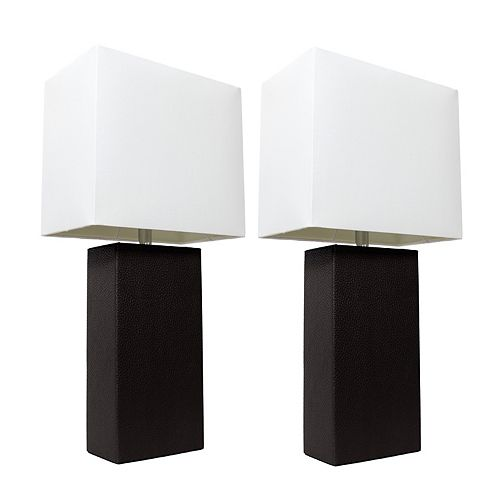 21 inch 2 Pack Black Modern Leather Table Lamps with White Fabric Shades