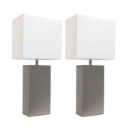 21 pouces Pack de 2 lampes de table gris modernes en cuir avec abat-jour en tissu blanc