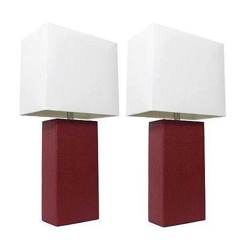 21 pouces Pack de 2 lampes de table rouge modernes en cuir avec abat-jour en tissu blanc