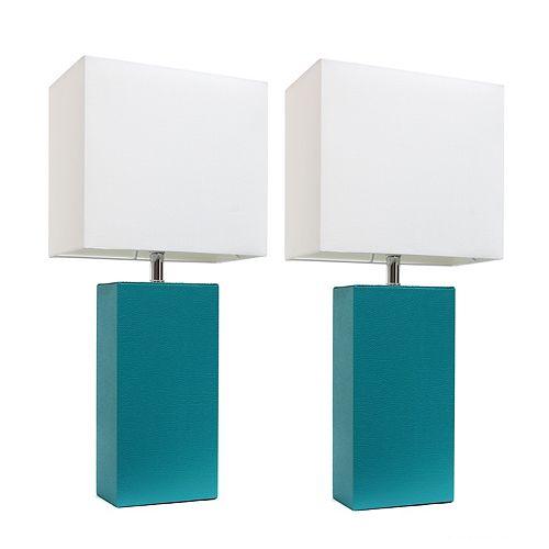 21 pouces Pack de 2 lampes de table sarcelle modernes en cuir avec abat-jour en tissu blanc