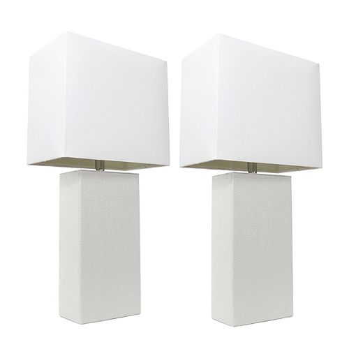21 inch 2 Pack White Modern Leather Table Lamps with White Fabric Shades