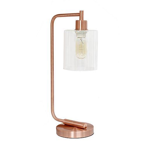 19 pouces or rose Lanterne de bureau en fer industriel de style antique avec abat-jour en verre