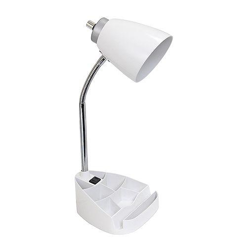 18.5 pouces blanc Lampe de bureau feux et prise de charge
