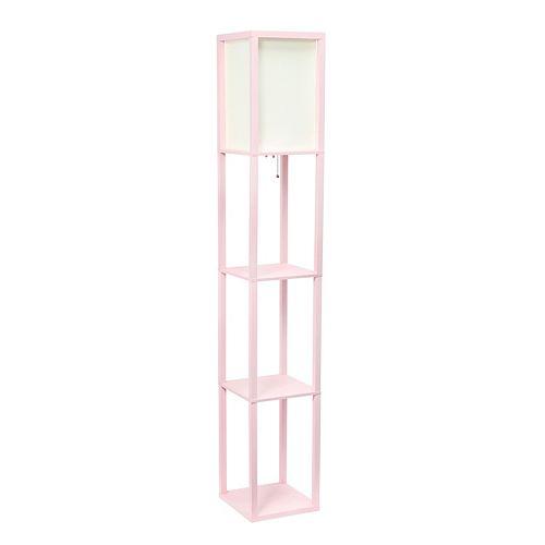 62.75 pouces rose clair Lampe de sol   Etagère de rangement avec abat-jour en lin