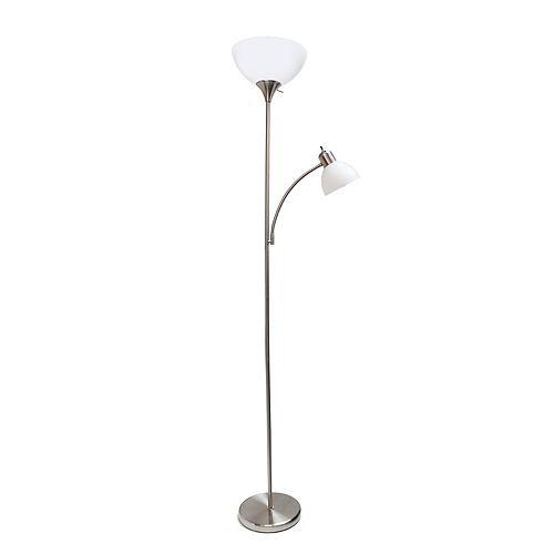 71 pouces nickel brossé  Lampe de sol de conception simple avec lumière de lecture