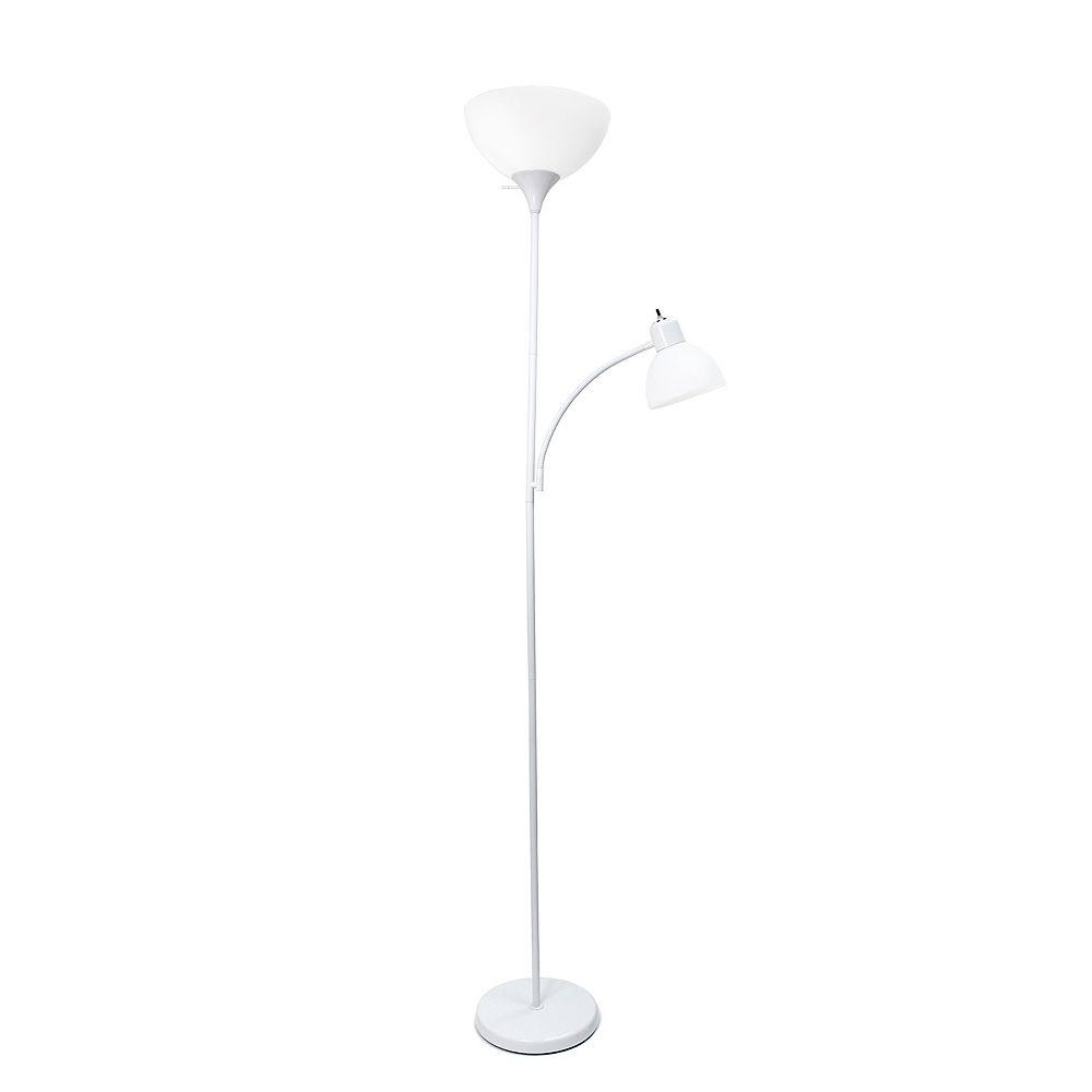Simple Designs 71 pouces blanc Lampe de sol de conception simple avec lumière de lecture