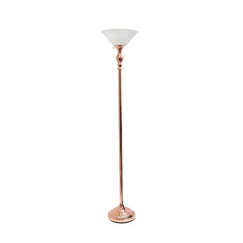 71 pouces or rose 1 Lampe torchère avec abat-jour en verre blanc marbré