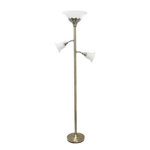 71 pouces laiton antique Lampe de sol élégante 3 lumières avec abat-jour en verre festonné