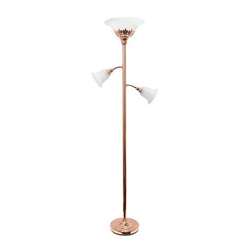 71 pouces or rose Lampe de sol élégante 3 lumières avec abat-jour en verre festonné