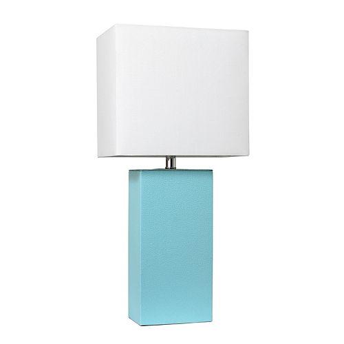 21 pouces aqua Lampe de table moderne en cuir avec abat-jour en tissu blanc