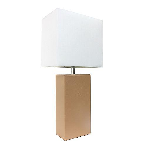 21 pouces beige Lampe de table moderne en cuir avec abat-jour en tissu blanc