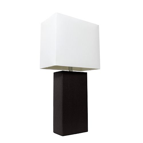 21 pouces noir Lampe de table moderne en cuir avec abat-jour en tissu blanc