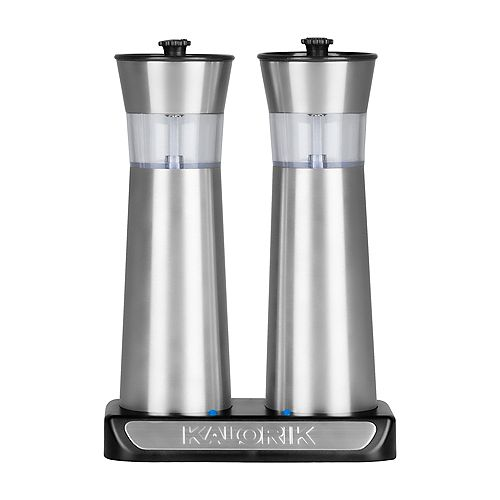 Rechargeable Gravity Salt and Pepper Grinder Set, Stainless Steel