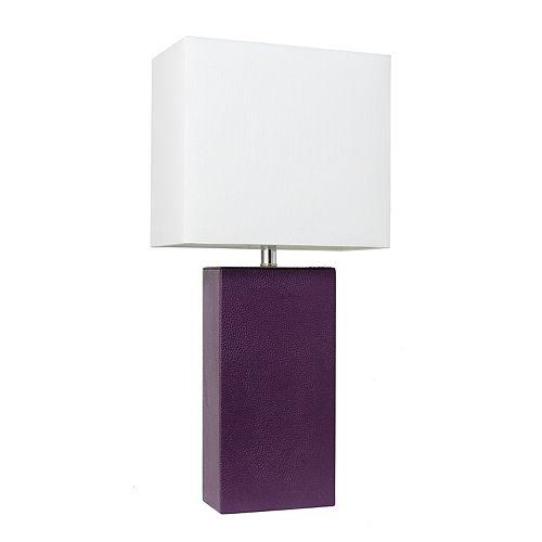 21 pouces aubergine Lampe de table moderne en cuir avec abat-jour en tissu blanc
