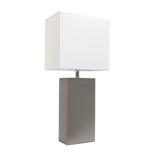 21 pouces gris Lampe de table moderne en cuir avec abat-jour en tissu blanc