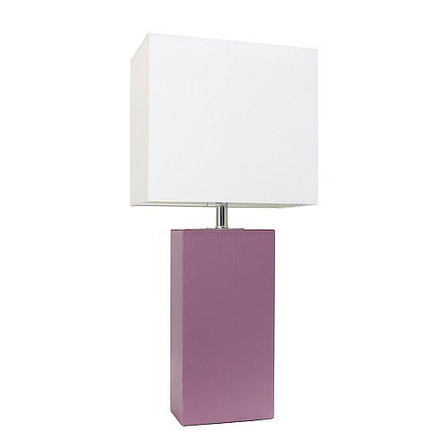 21 pouces violet Lampe de table moderne en cuir avec abat-jour en tissu blanc