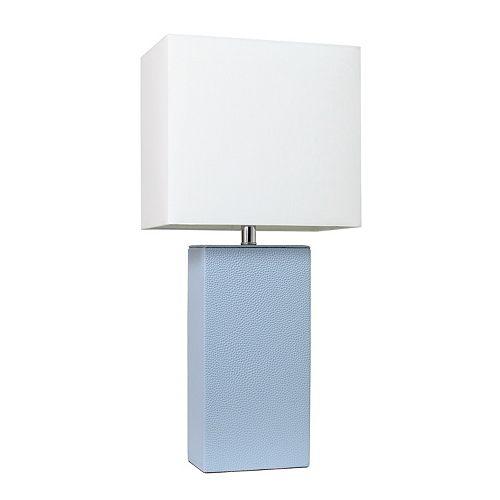 21 pouces pervenche Lampe de table moderne en cuir avec abat-jour en tissu blanc