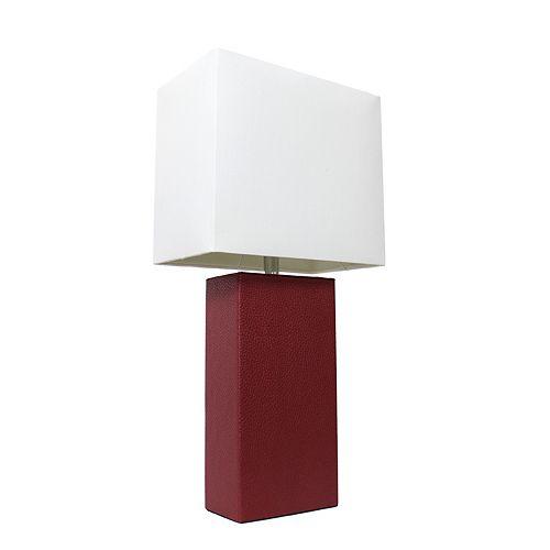 21 pouces rouge Lampe de table moderne en cuir avec abat-jour en tissu blanc