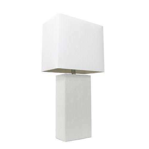 21 pouces blanc Lampe de table moderne en cuir avec abat-jour en tissu blanc