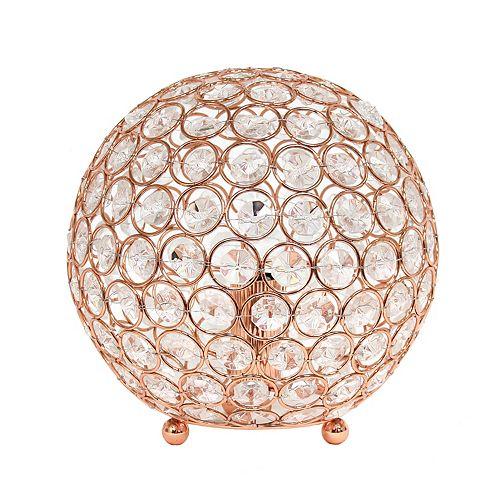 8 pouces or rose la lampe de table Elipse 8 pouces  en cristal à paillettes