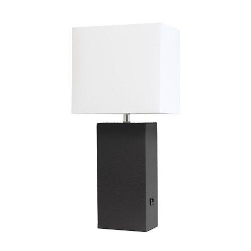 21 pouces noir Lampe de table moderne en cuir avec USB et abat-jour en tissu blanc