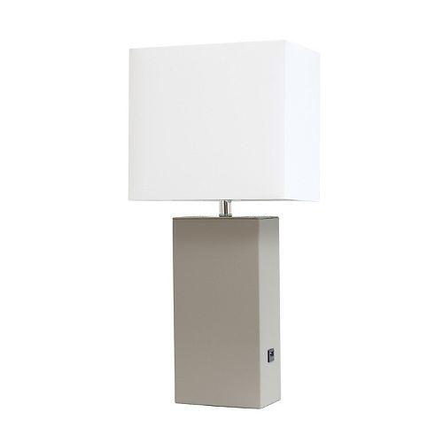 21 pouces gris Lampe de table moderne en cuir avec USB et abat-jour en tissu blanc