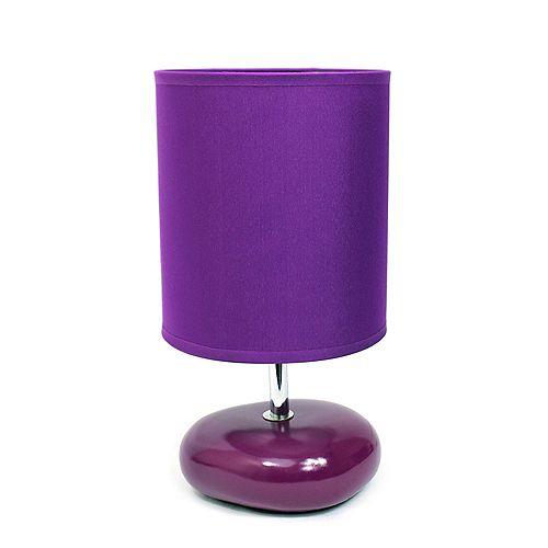 10.24 pouces violet Pierres Petite lampe de chevet de table à l'aspect de pierre