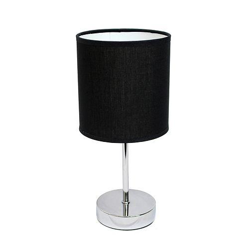 11 pouces Mini lampe de table de base chromée avec abat-jour en tissu noir