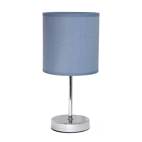 11 pouces Mini lampe de table de base chromée avec abat-jour en tissu violet